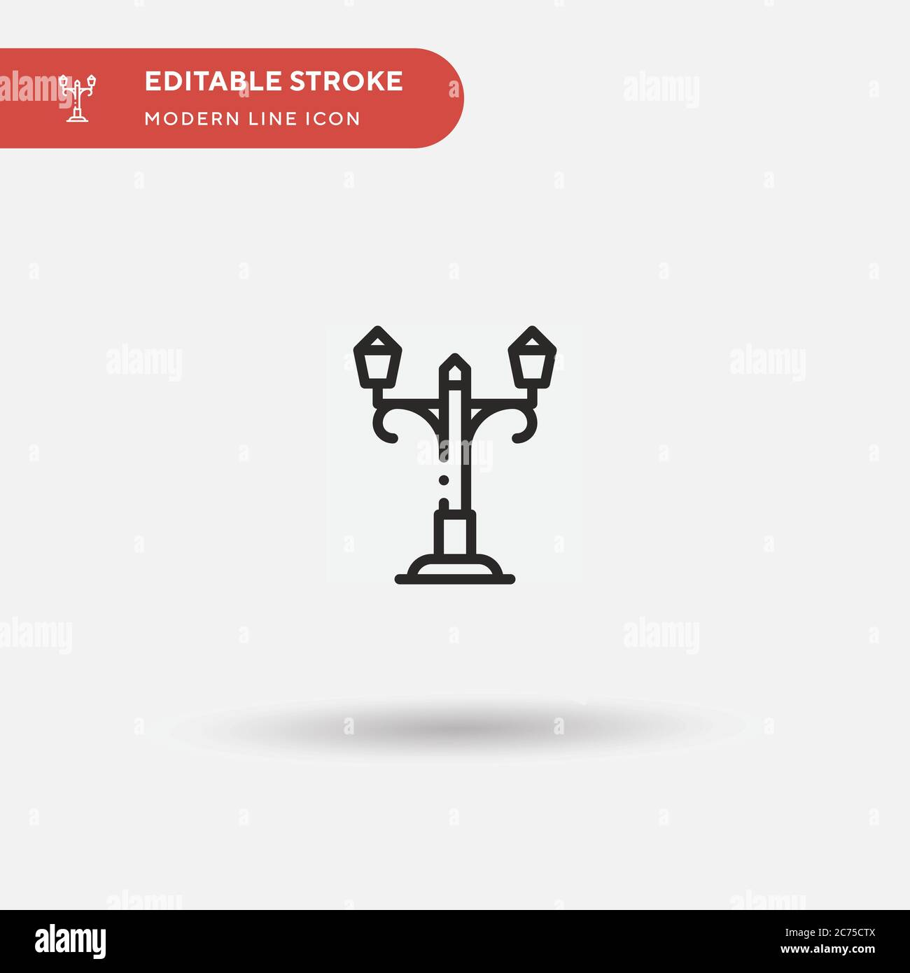 Lamp Post Simple vector icon. Illustration symbol design template for web mobile UI element. Perfect color modern pictogram on editable stroke. Lamp Post icons for your business project Stock Vector
