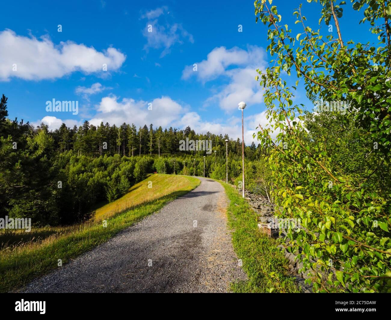 Dam promenate road on lake Lepenica near Fuzine in Croatia Europe Stock Photo