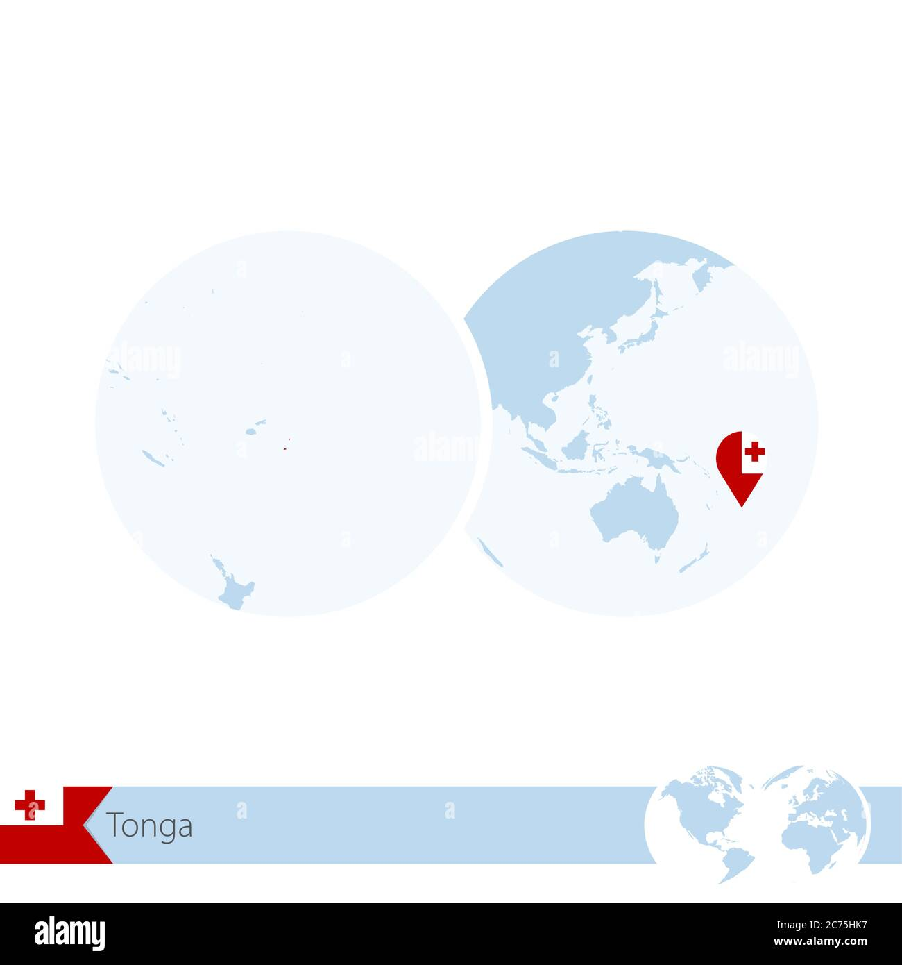 Image of: Tonga On World Globe With Flag And Regional Map Of Tonga Vector Illustration Stock Vector Image Art Alamy