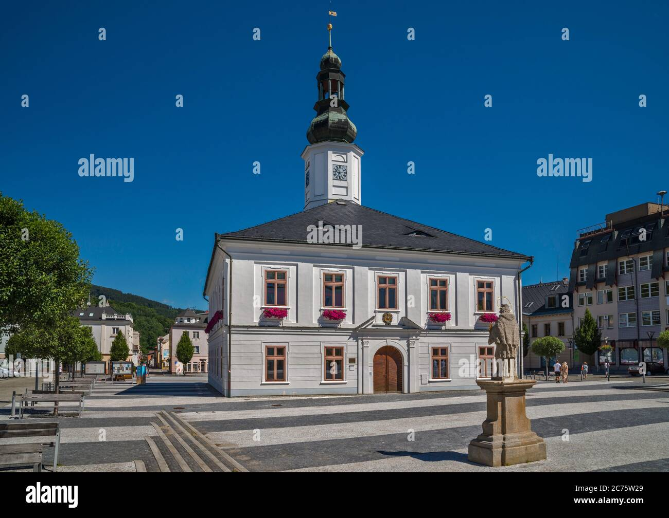 Town Hall, St John of Nepomuk statue, at Masarykovo namesti in town of Jesenik, Czech Silesia, Olomouc Region, Czech Republic Stock Photo