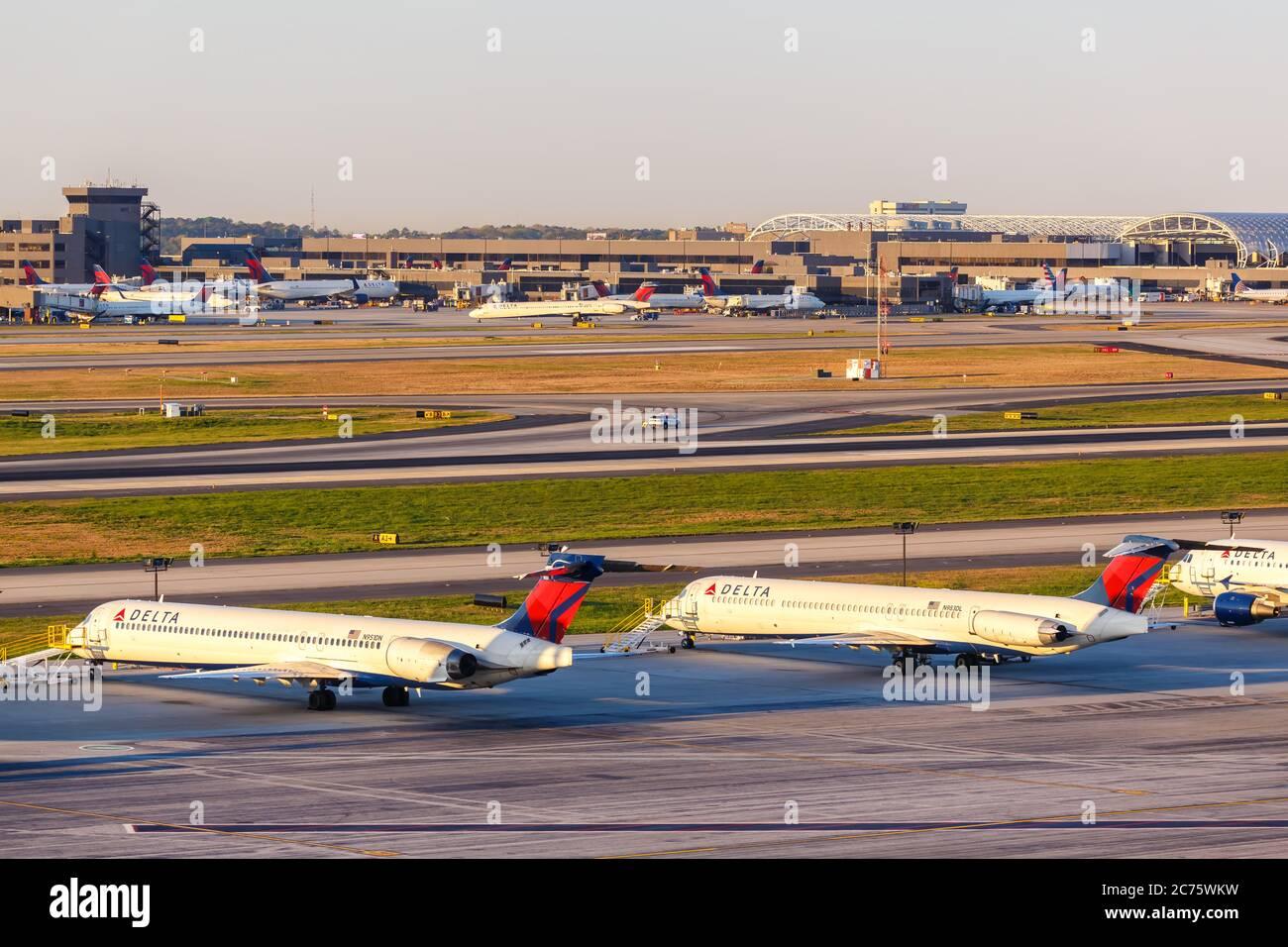Atlanta, Georgia - April 3, 2019: Delta Air Lines McDonnell Douglas MD-90 airplane at Atlanta Airport (ATL) in Georgia. Stock Photo