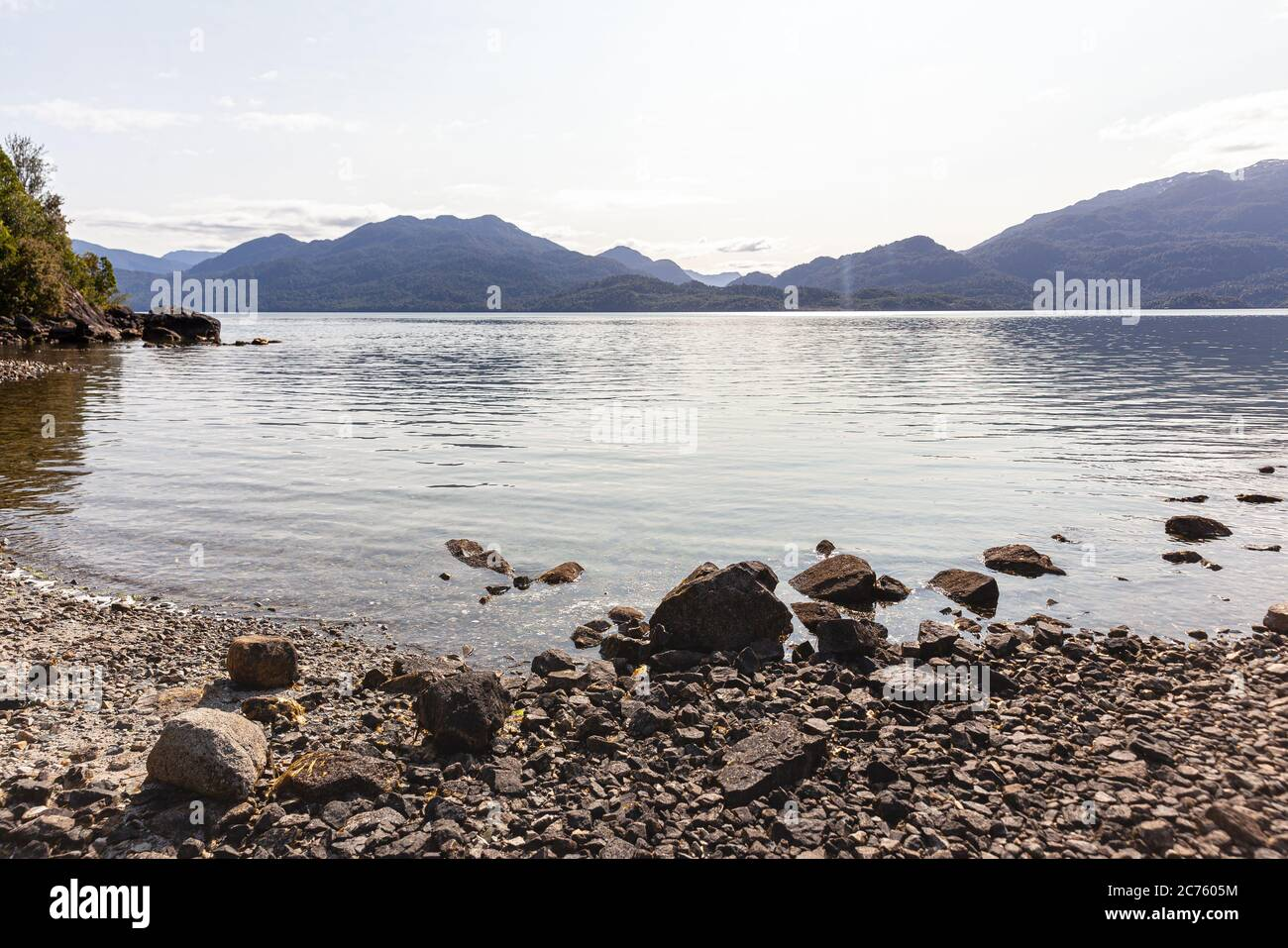 Beach of the fjord of Puyuhuapi, Patagonia, Chile. Pacific Ocean Stock Photo