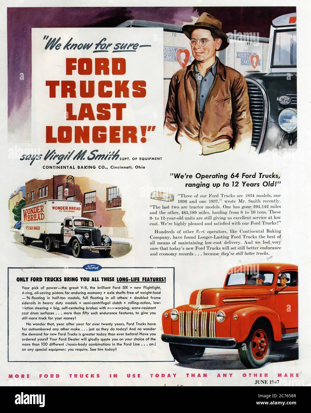 Ford Trucks From 1947 Vintage Car Advertising Stock Photo Alamy