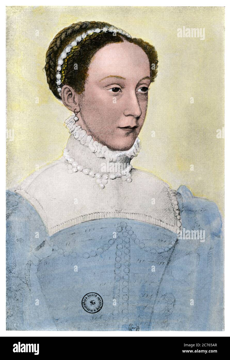 Mary Stuart as Queen Consort of France. Hand-colored halftone of an illustration by Francois Coljet Stock Photo