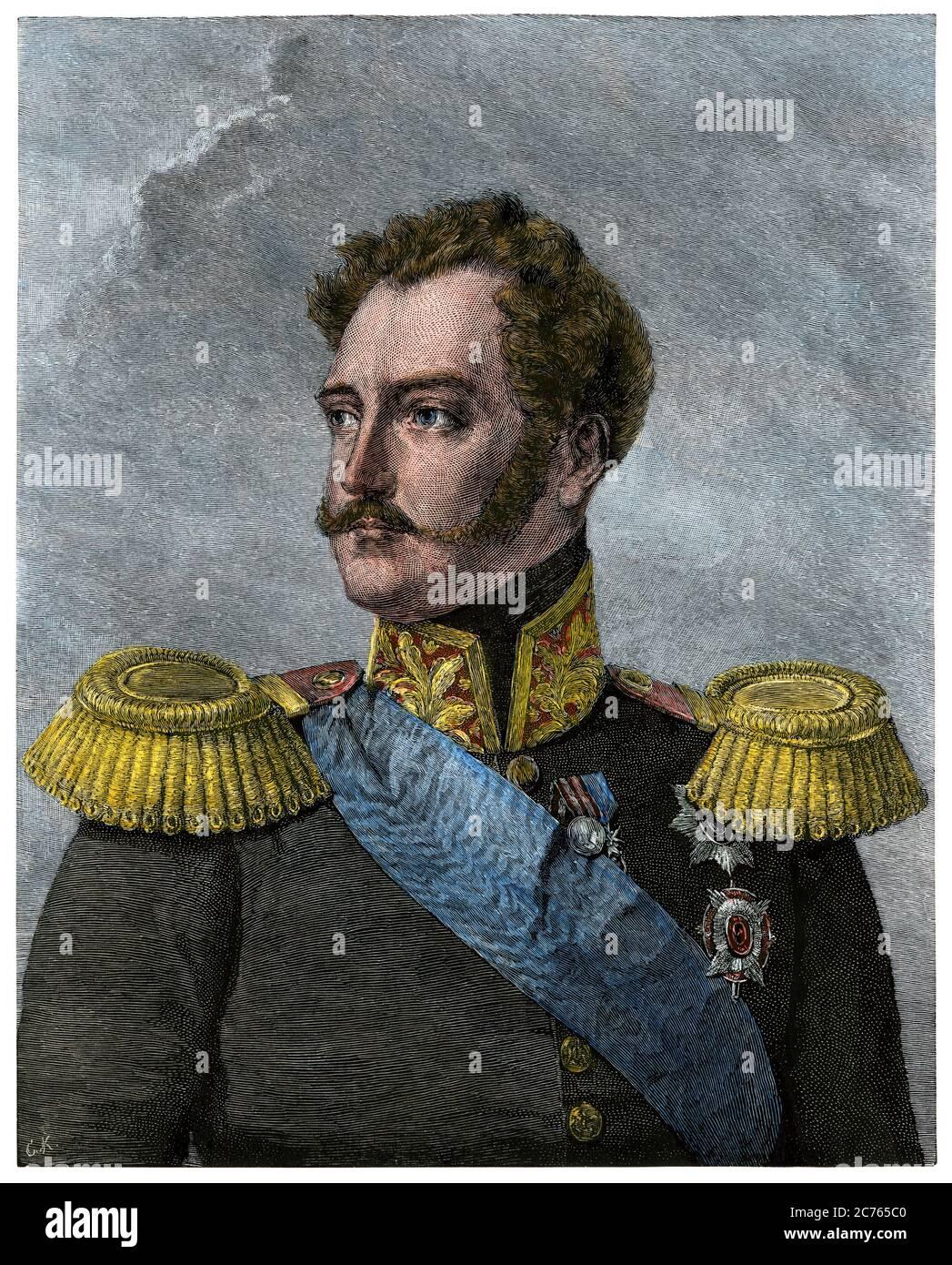 Russian Emperor Nicholas I. Hand-colored woodcut Stock Photo