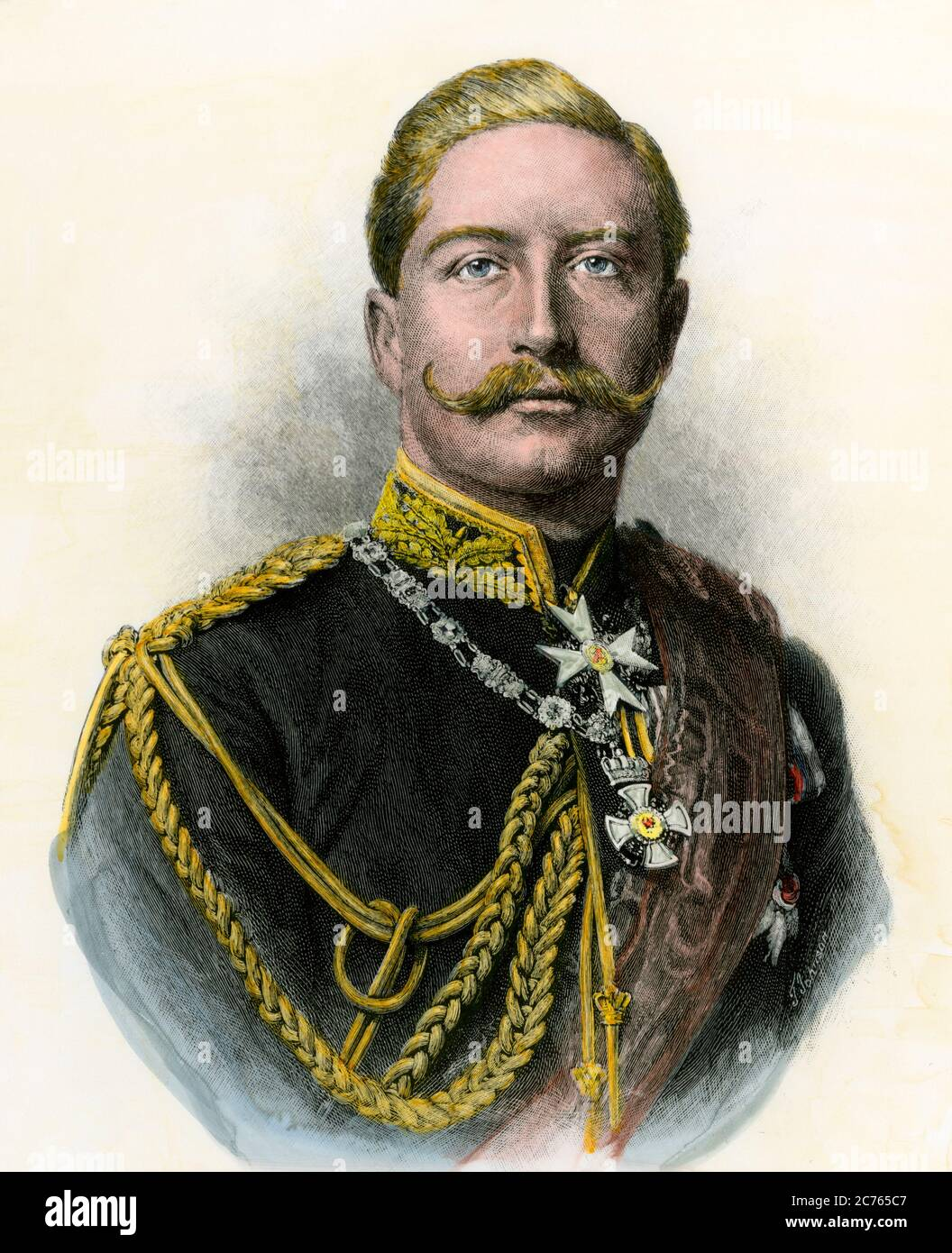 "German Emperor William II, known as ""The Kaiser."" Hand-colored woodcut Stock Photo"