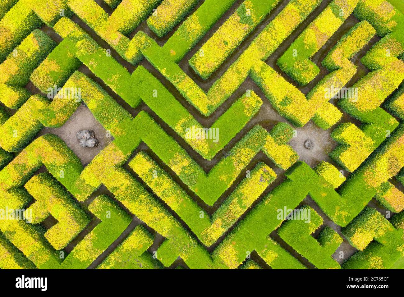 Innerleithen, Scotland, UK. 14 July, 2020, Aerial view of maze at Traquair House in the Scottish Borders, the oldest inhabited house in Scotland. The house is preparing to reopen to the public on Friday. Access to the maze will be limited to one household at a time. Iain Masterton/Alamy Live News Stock Photo