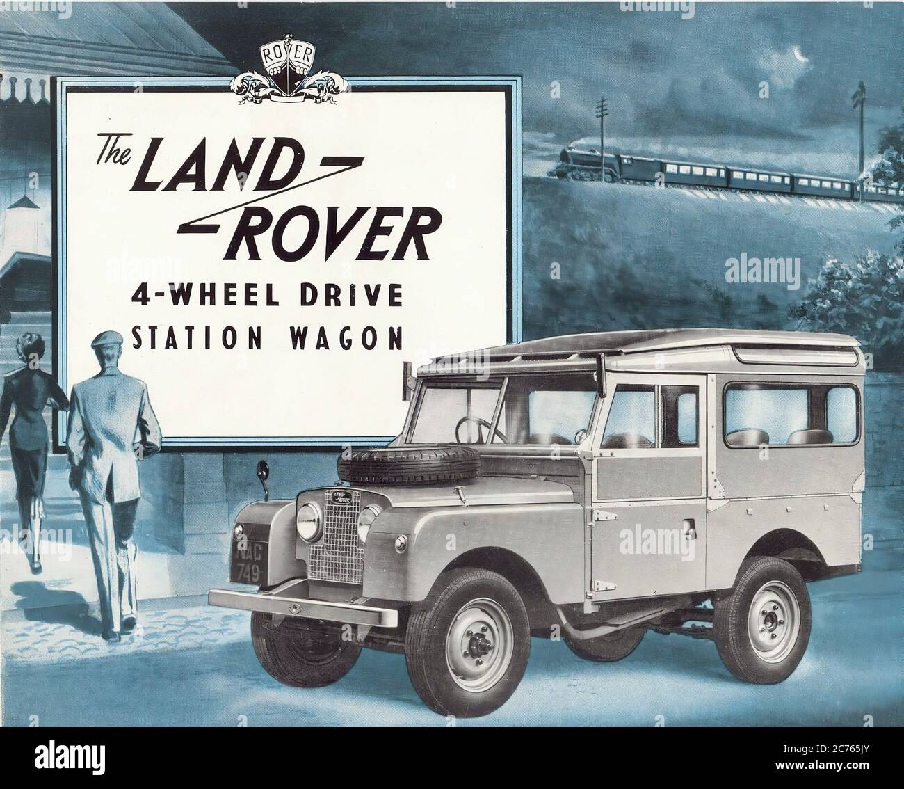 Land Rover Serie 1 Station Wagon From 1949 Vintage Car Advertising Stock Photo Alamy