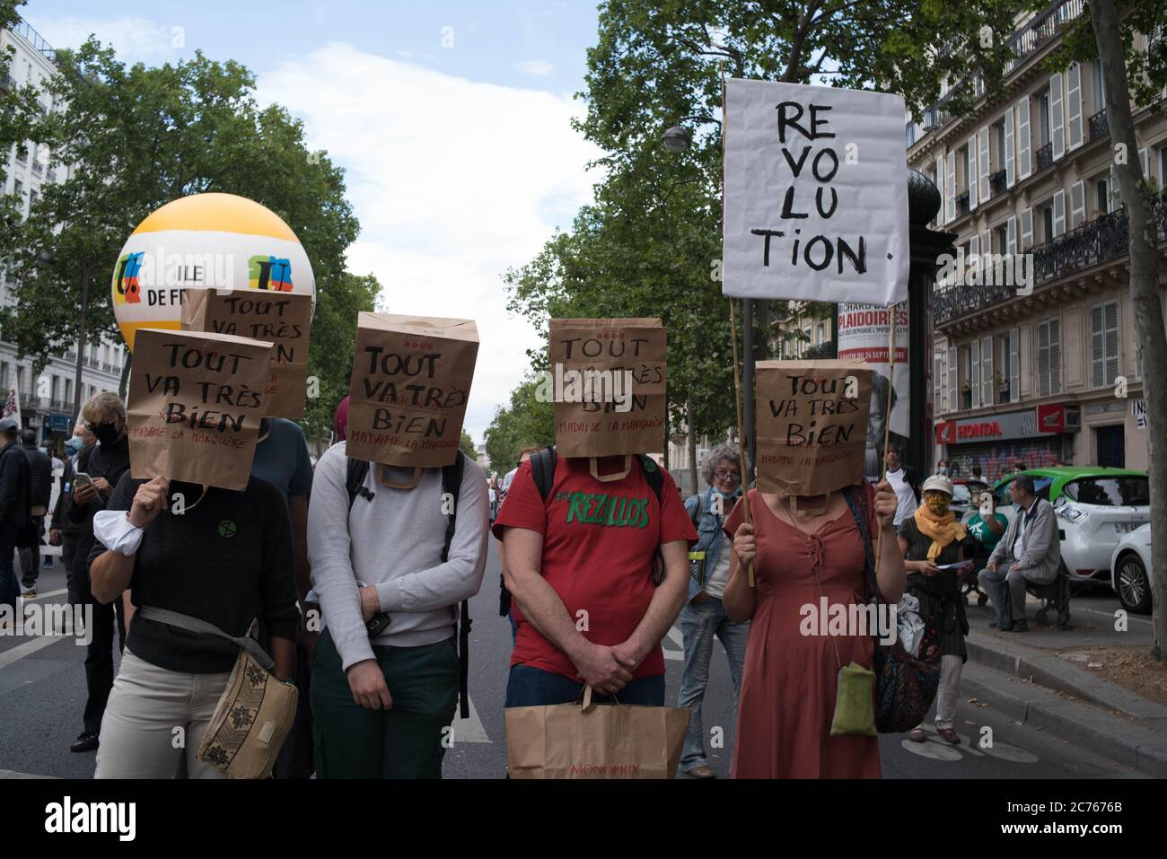 Paris: Demonstrations of July 14, 2020 of caregivers and yellow vests Stock Photo