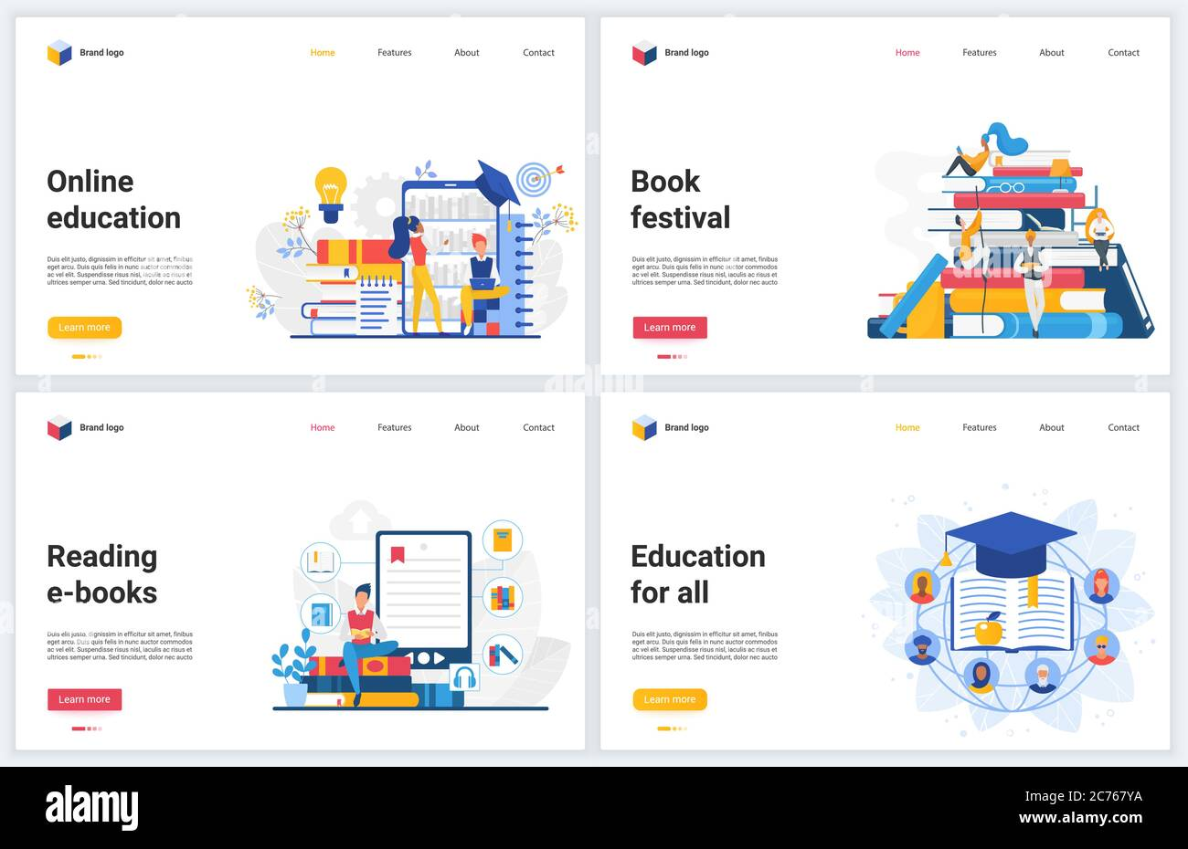 Online Education Technology Vector Illustrations Creative Concept Interface Website Design Banners With Flat Cartoon Educational Mobile Services For Reading Distance Training And Student Learning Stock Vector Image Art Alamy