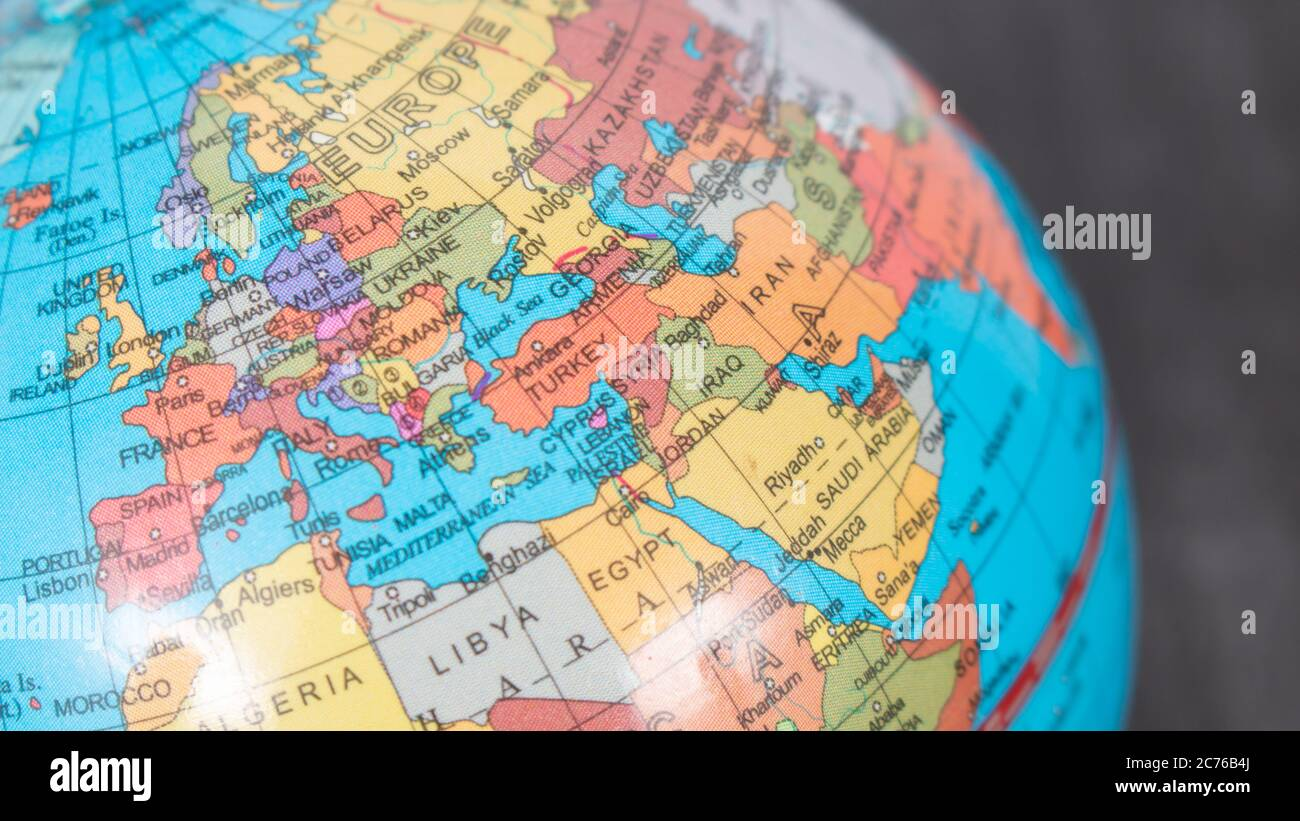 Image of: Globe Map Focused On Europe France Germany Greece Spain Italy Map Of European Union Focused On Europe Map Globus With Europe Map Stock Photo Alamy