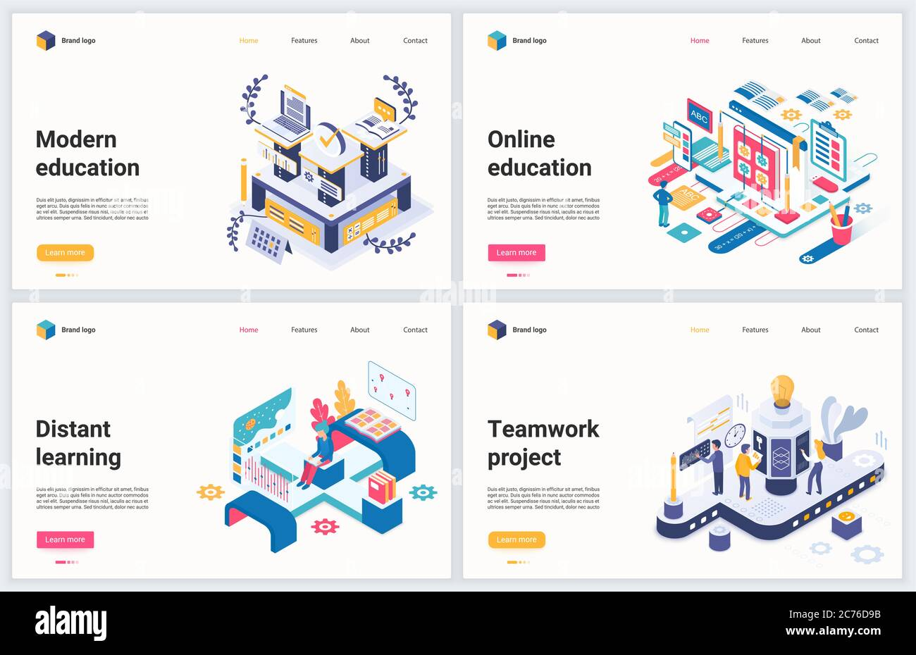 Isometric Distance Education Technology Vector Illustration Creative Modern Concept Banner Set Website Design With Cartoon 3d Online Training Of Business Team Educational Project And Distant Course Stock Vector Image Art