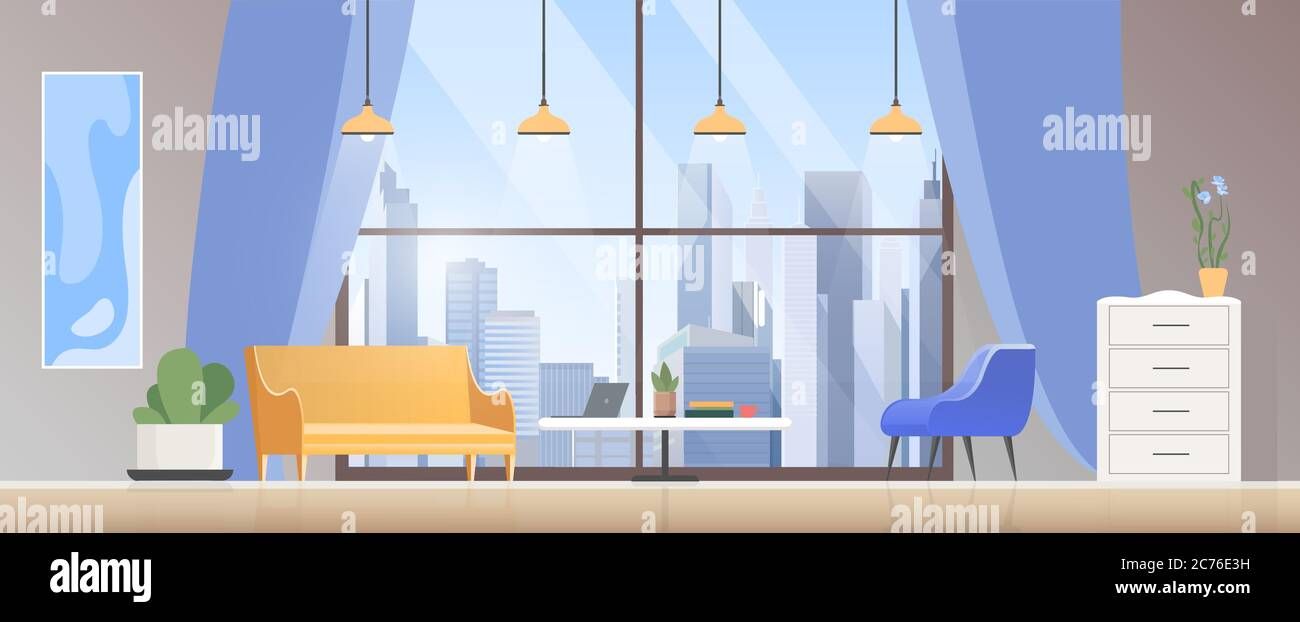 Living Room Interior Flat Vector Illustration Cartoon Empty Modern Home Room Interior With Sofa Armchair Laptop Table Potted Plant Panoramic Window Apartment Furniture Inside Design Background Stock Vector Image Art