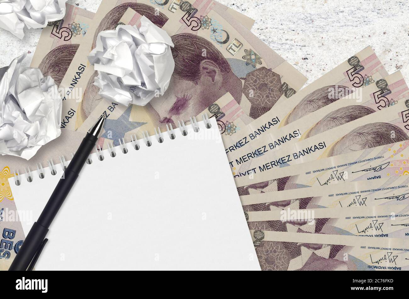 5 Turkish Lira Bills And Balls Of Crumpled Paper With Notepad Bad Ideas Or Less Of Inspiration Concept Searching Ideas For Investment Stock Photo Alamy