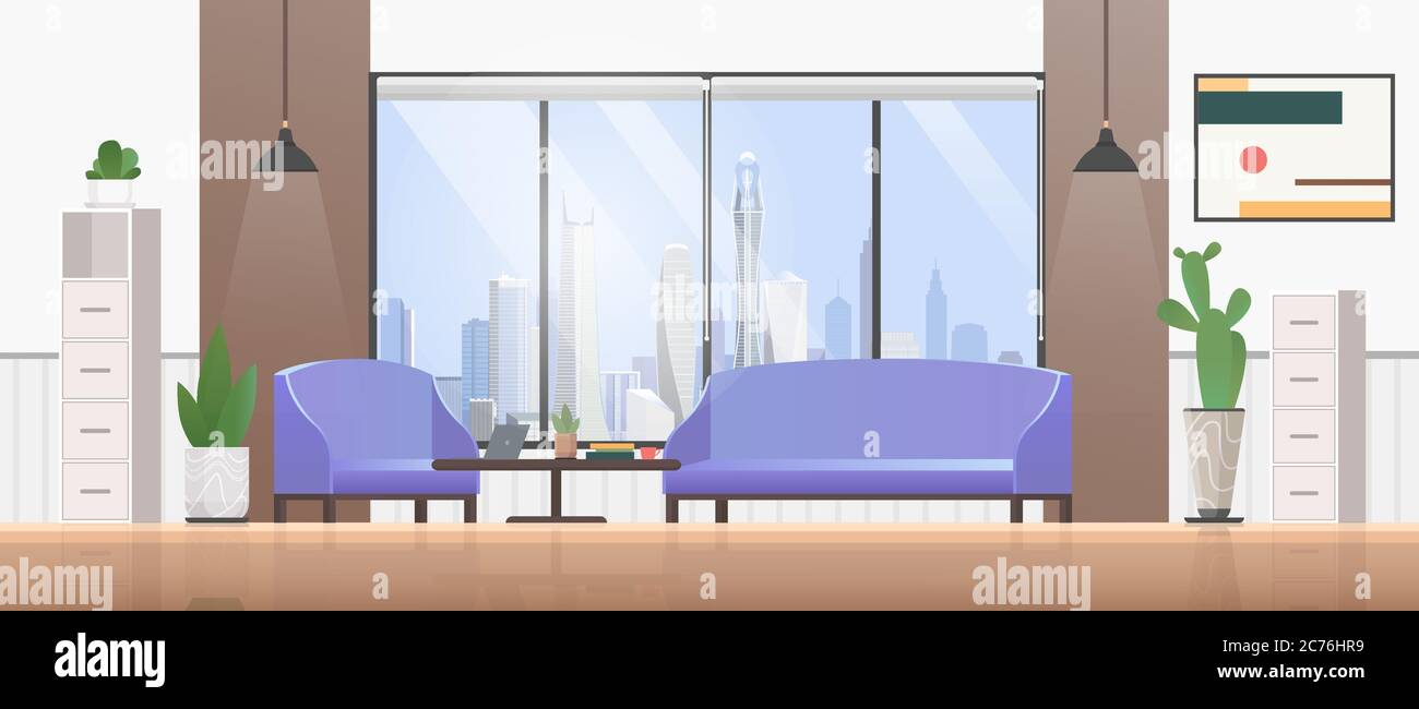 Living Room Interior Flat Design Vector Illustration Cartoon Empty Modern Home Apartment Living Room With Cozy Sofa Picture On Wall Panoramic Modern City View From Window Green Plants Background Stock Vector Image