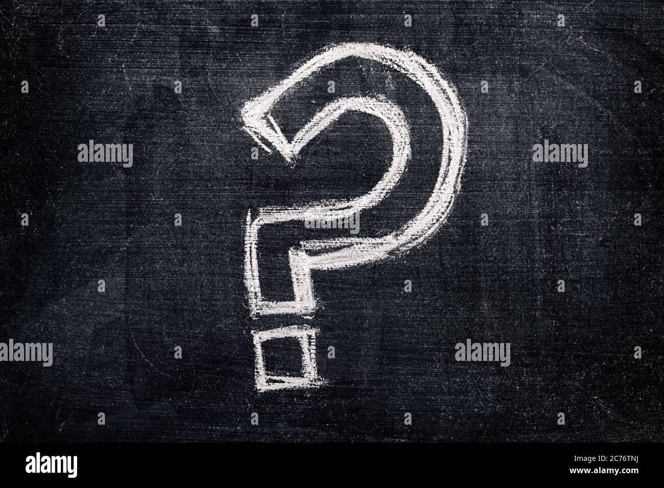 Question mark on school blackboard, questioning symbol written in chalk Stock Photo