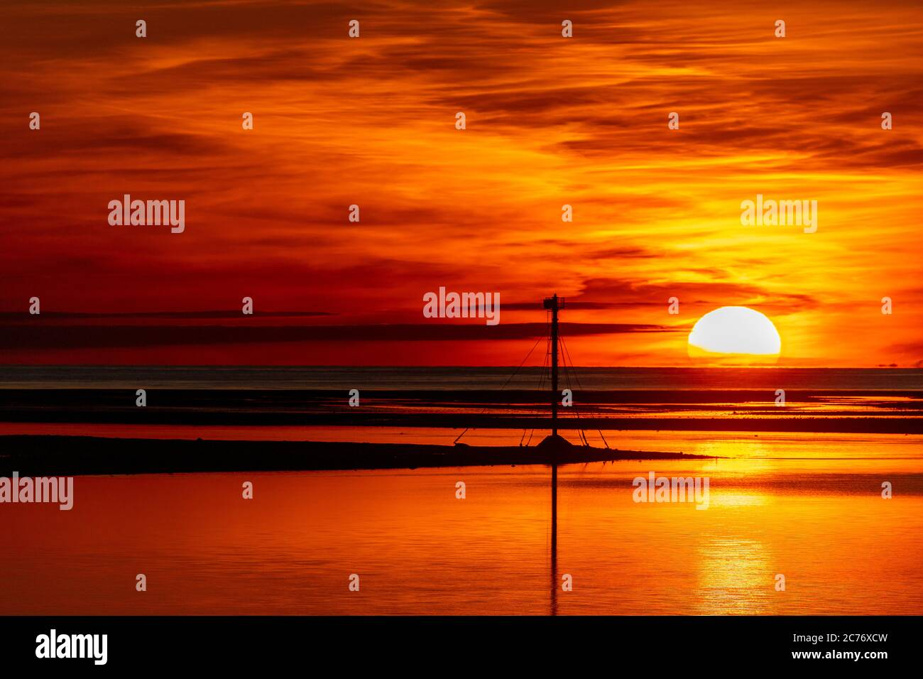 Sunset over the North Wales coast from Deganwy Stock Photo