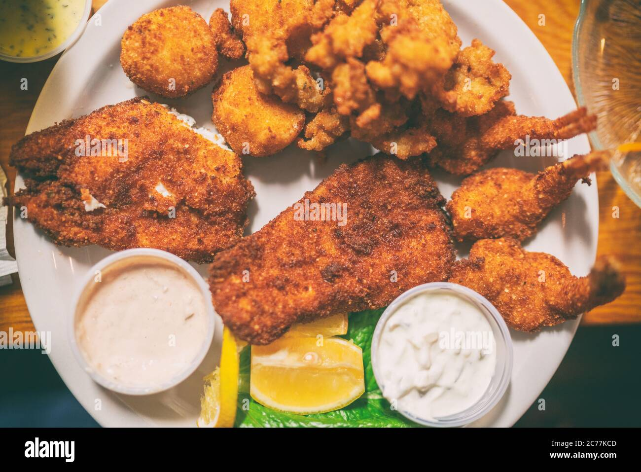 Fried Seafood Platter Top View Of Local Dish From Key West Florida Conch Fritters Cod Fish In Oily Batter Fry Stock Photo Alamy