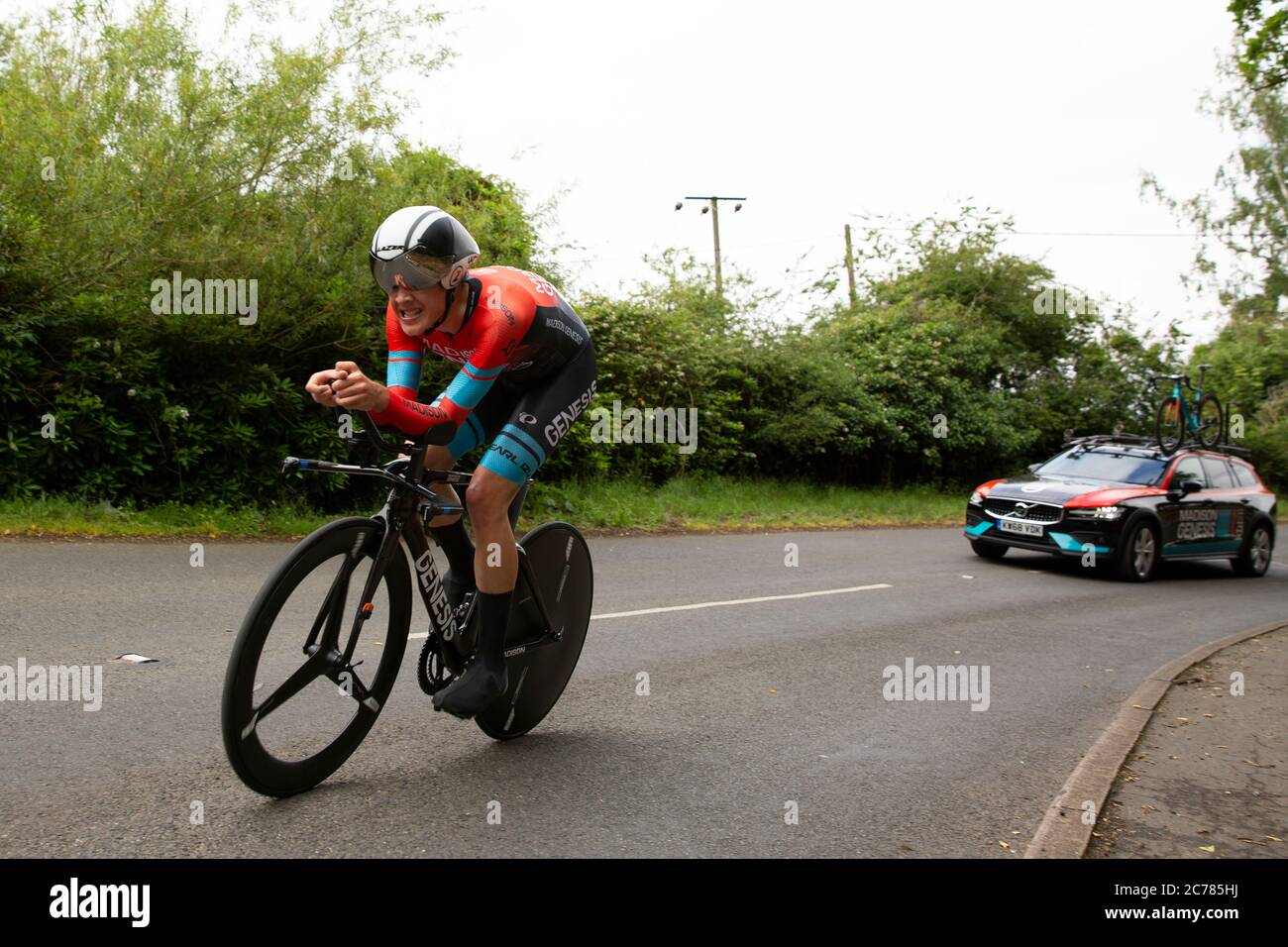 Joe (Joseph) Laverick of Madison Genesis competing at the 2019 UK Cycling Championships, Under-23 Men's time-trial, held at Sandringham, Norfolk. Stock Photo