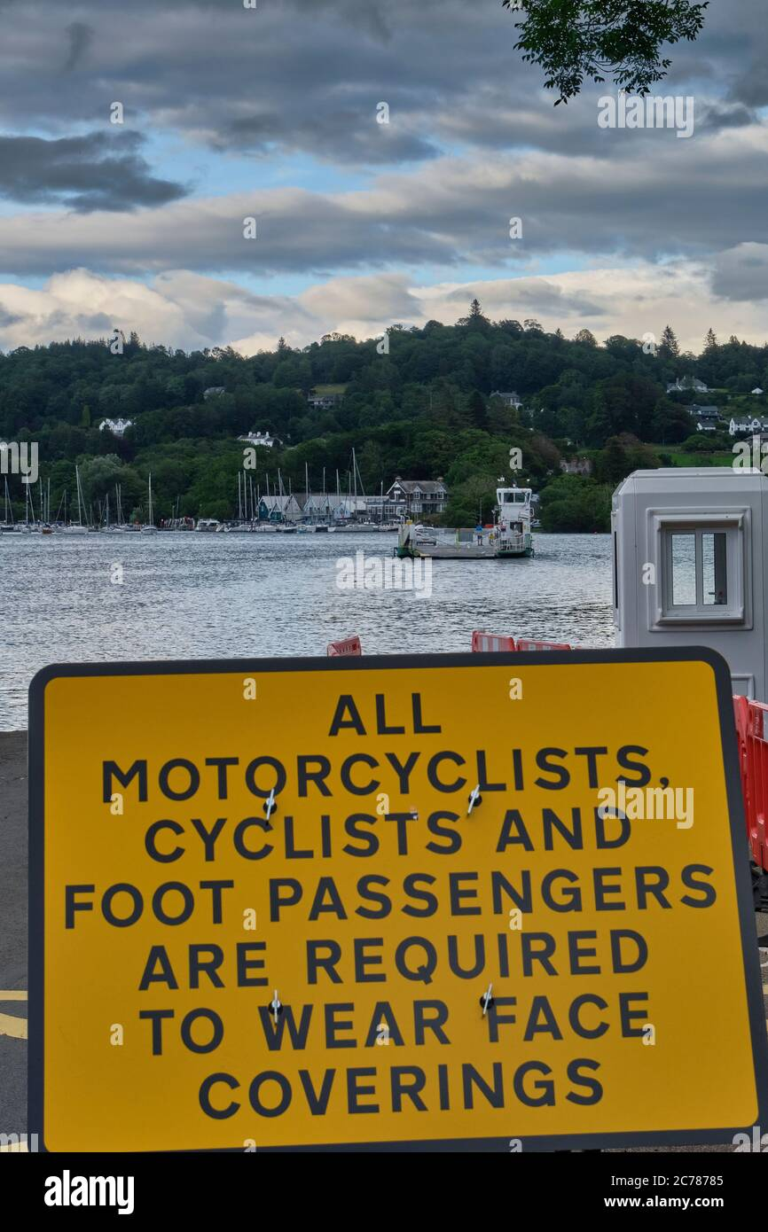 Information signs at ferry crossing at Windermere, Lake District, Cumbria Stock Photo