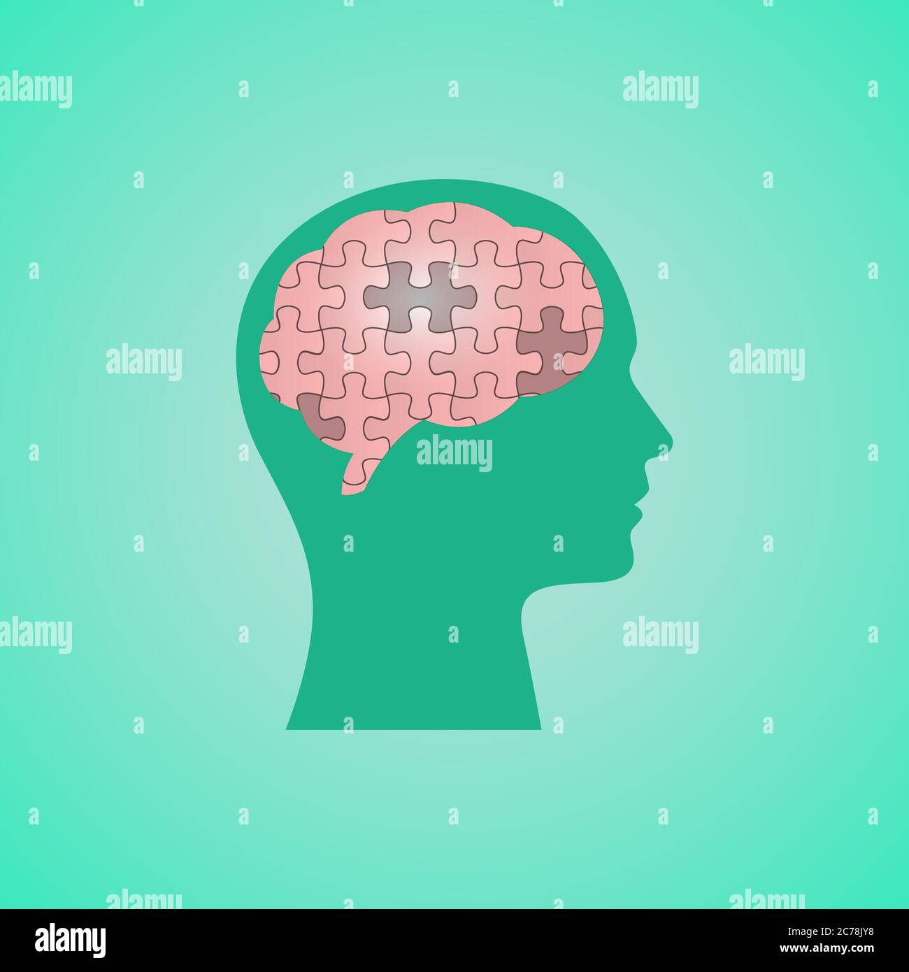 Human Head With Puzzled Brain Over Green Background, Vector Illustration Stock Vector