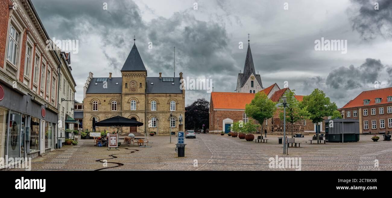 Main square in old city of Varde, Denmark Stock Photo