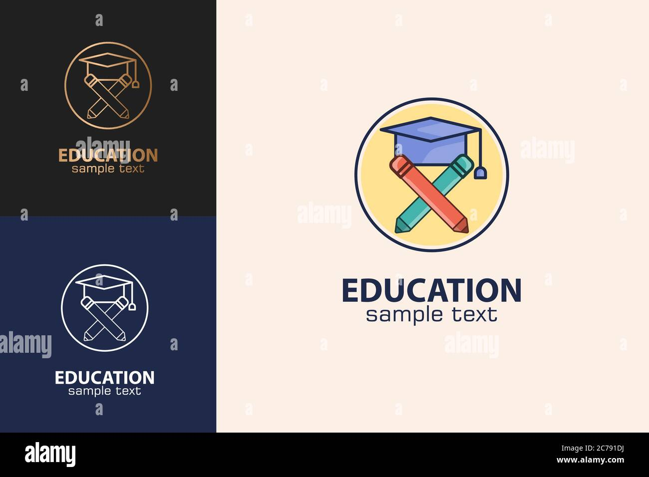 Education Logo, Graduation Hat And Pencil Design Concept. Stock Vector