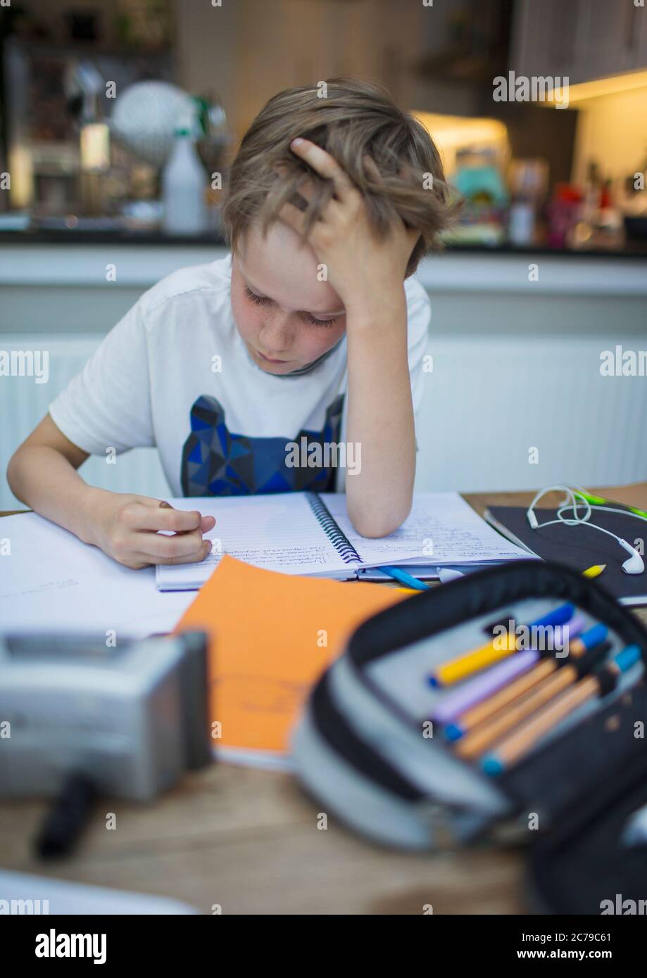 Focused boy home schooling at table Stock Photo