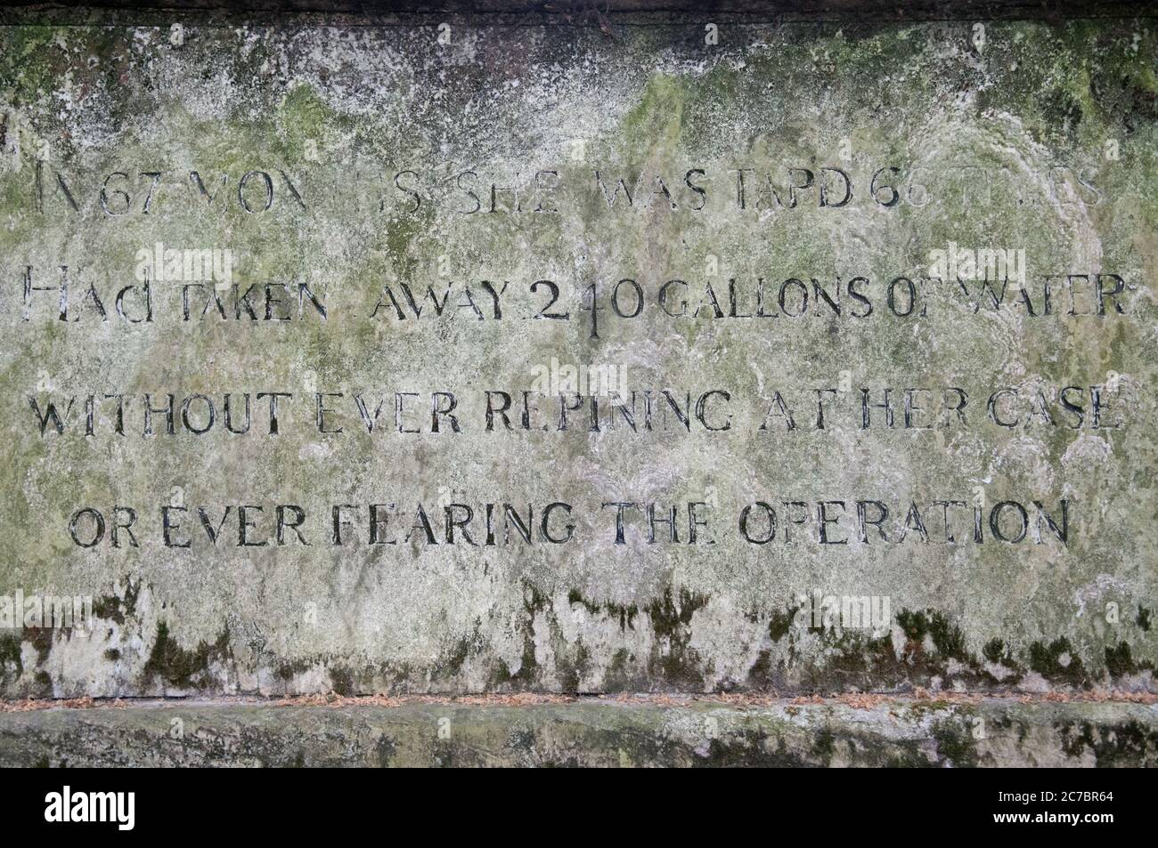 A Close Up Of The Inscription Carved On The Grave Of Dame Mary Page In Bunhill Fields Burial Ground, London, UK Stock Photo