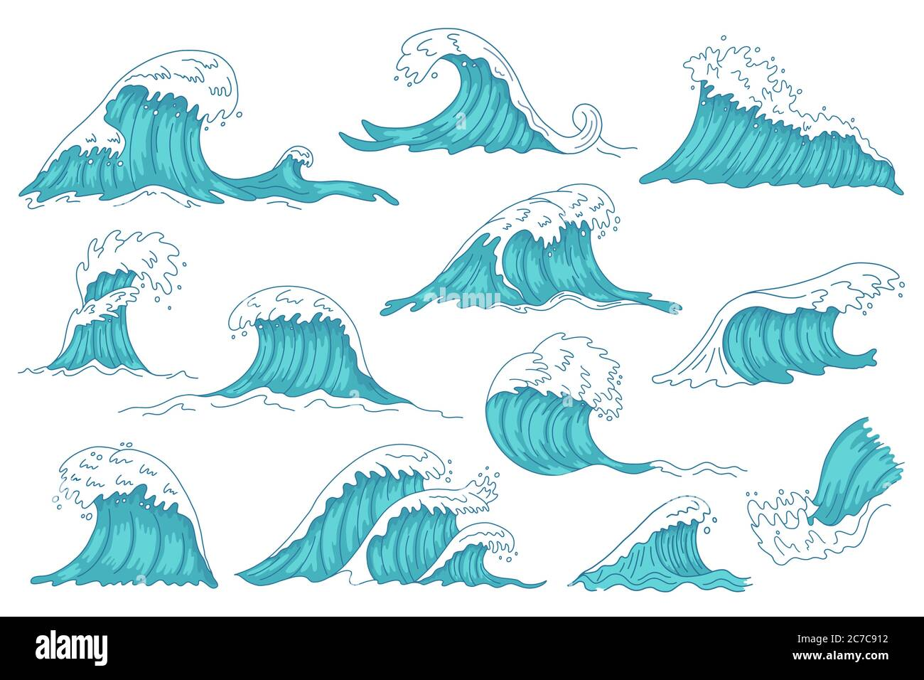 Sea waves. Ocean hand drawn water wave, vintage storm tsunami waves, raging marine water shaft isolated vector illustration icons set Stock Vector