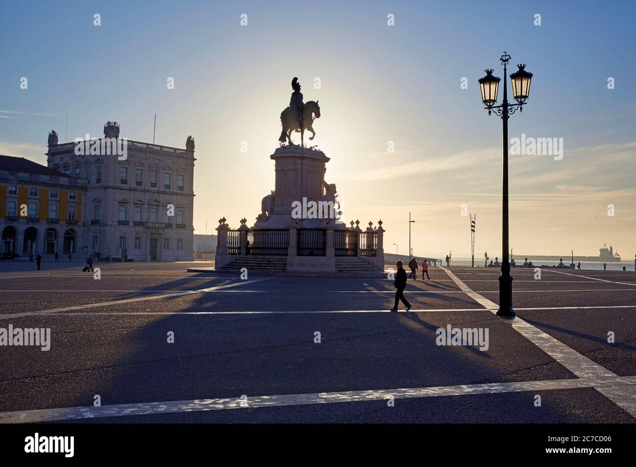 Statue of King Jose I on Praca de Commercial in Lisbon at sunrise Stock Photo