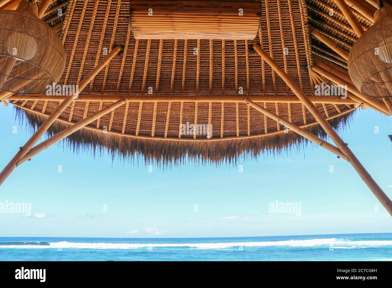Outdoor Restaurant At The Beach Cafe On The Beach Ocean And Sky View To Beach From Bar In Bali Indonesia Relaxing On Remote Paradise Beach Stock Photo Alamy