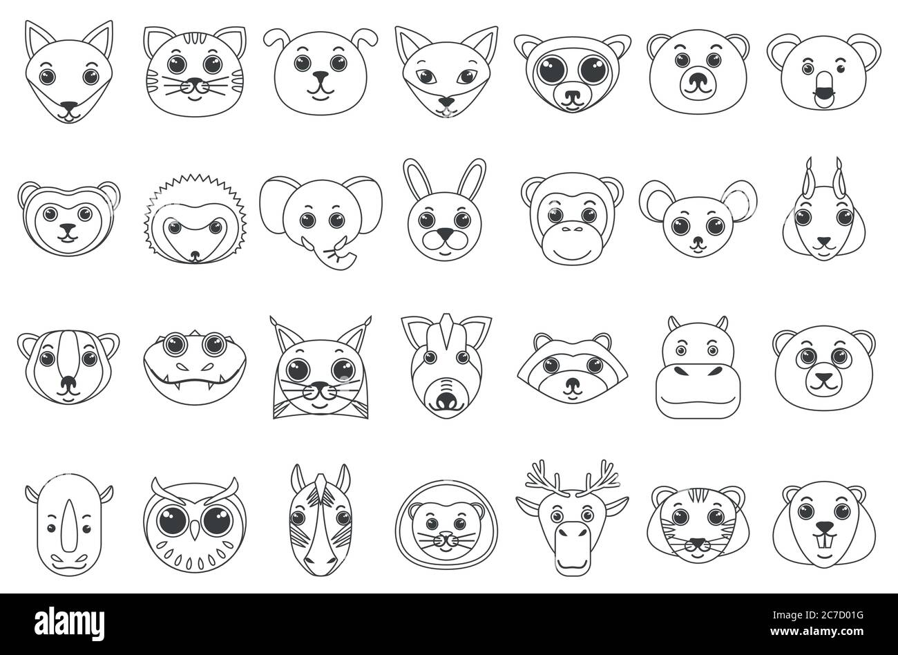 Set of line outline heads of assorted wild and domestic animals in cartoon style vector illustration Stock Vector