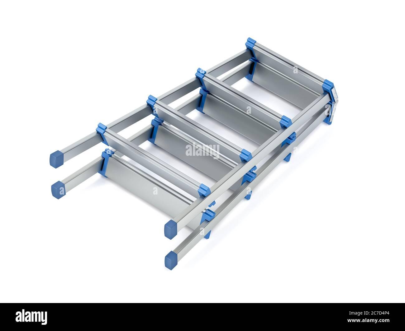 Foldable aluminum stepladder on white background Stock Photo