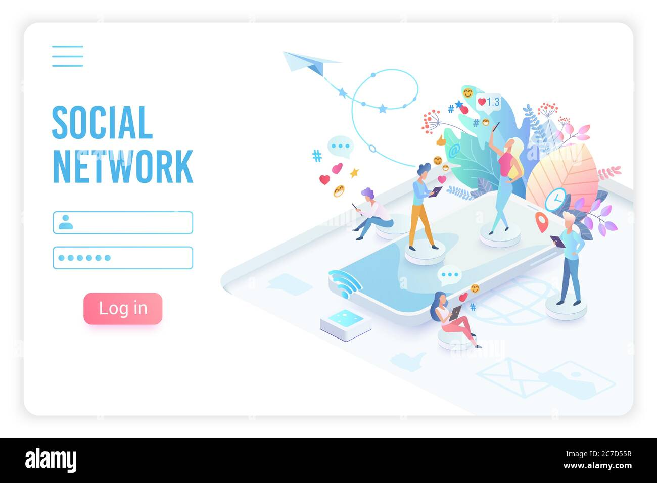 Social network app isometric landing page vector template. Online communication, chatting smartphone application website design layout. Networking, social media service login 3d concept illustration Stock Vector