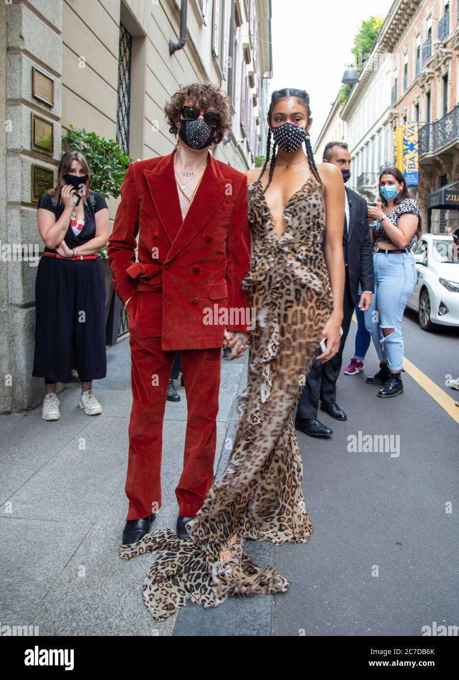 Singer Irama And His Fiancee Victoria Stella During Milan Digital Fashion Show 2020 At The Etro Fashion Show Photo By Franco Re Pacific Press Stock Photo Alamy