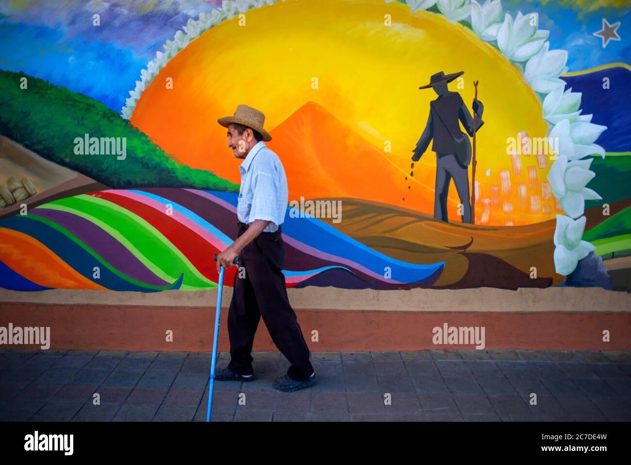 Wall street art graffiti in Nahuizalco Sonsonate El Salvador Central America. Ruta De Las Flores, Department Of Sonsonate. Stock Photo