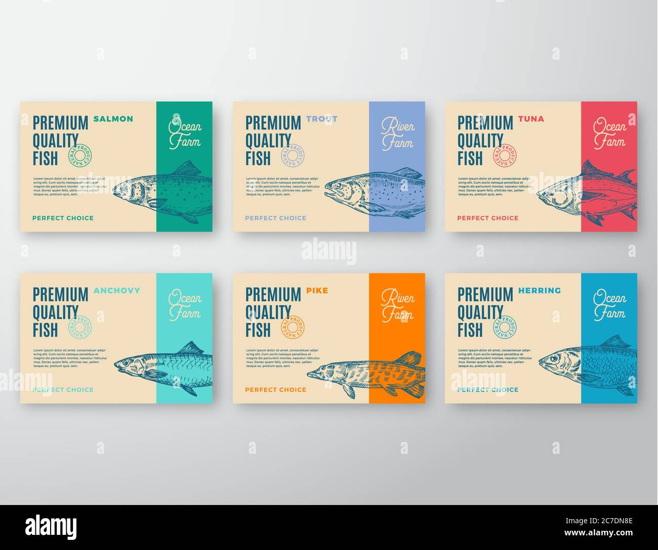 Premium Quality Fish Labels Set Abstract Vector Packaging Design