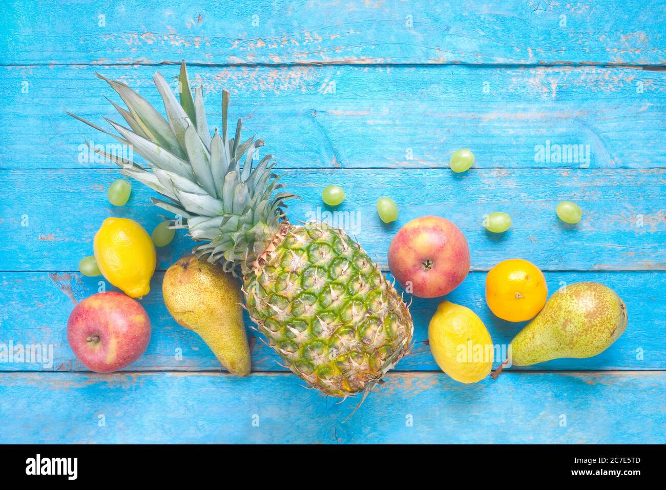 various fruit, flat lay, healthy nutition, dieting, free copy space Stock Photo