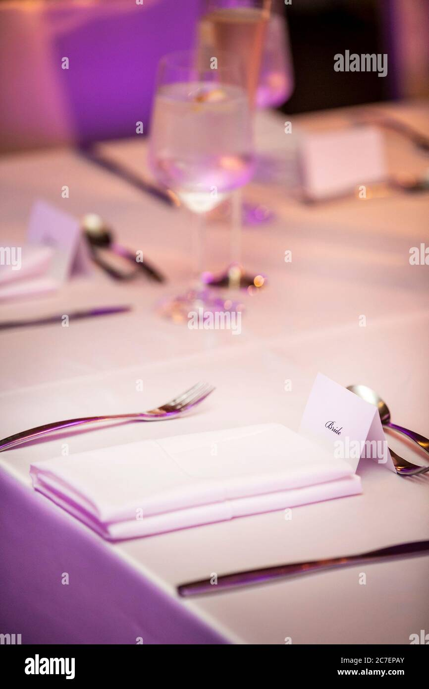 Neatly Elegant Place Setting With Napkins And Flatware And Name Tage For A Wedding Ceremony Party Stock Photo Alamy