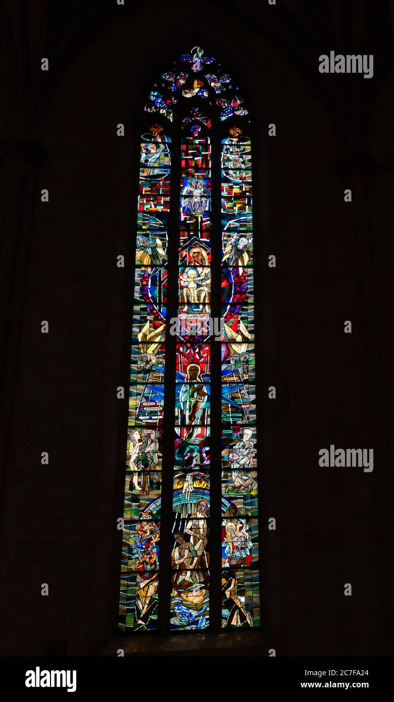 Ulm, BW / Germany - 14 July 2020: stained glass window in the historic minster in Ulm Stock Photo