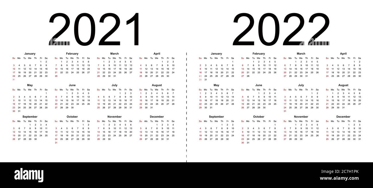 2022 Weeks Calendar.Calendar 2021 2022 Week Starts From Sunday Business Template Isolated Vector Illustration On White Background Stock Vector Image Art Alamy