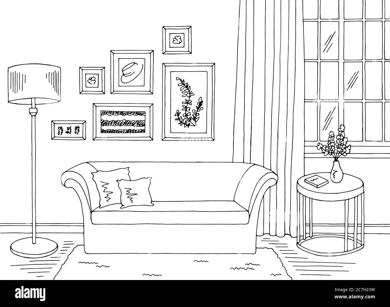 Living Room Graphic Black White Home Interior Sketch Illustration Vector Stock Vector Image Art Alamy