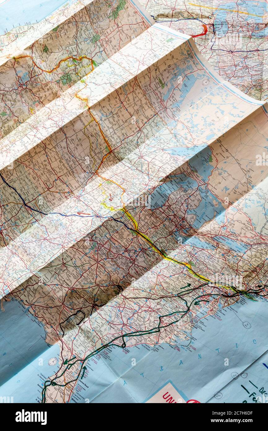 Folding United States Travel Map With Routes Marked Stock Photo Alamy