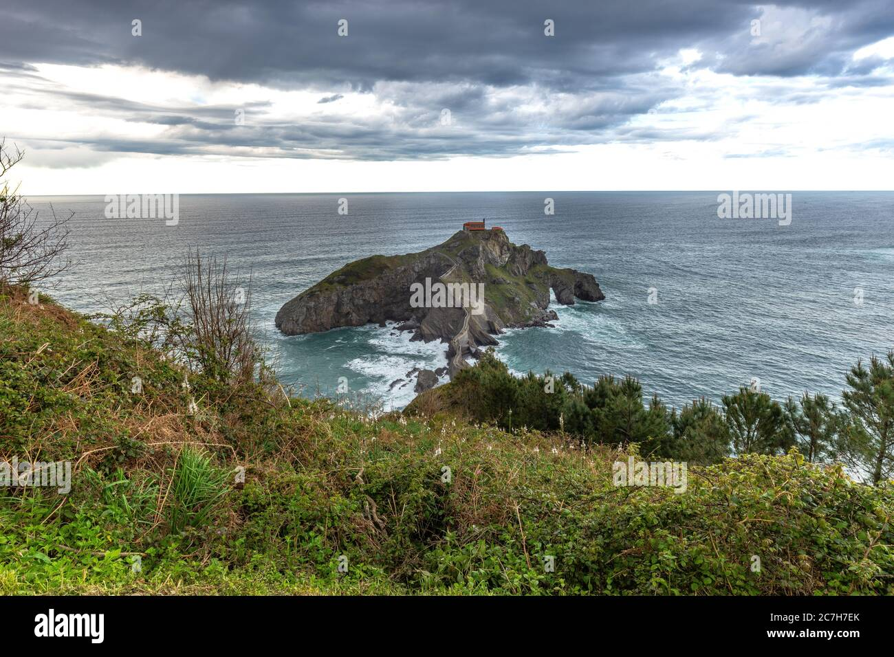 Europe, Spain, Basque Country, Biscay, Bay of Biscay, Costa Vasca, view of Gaztelugatxe Stock Photo