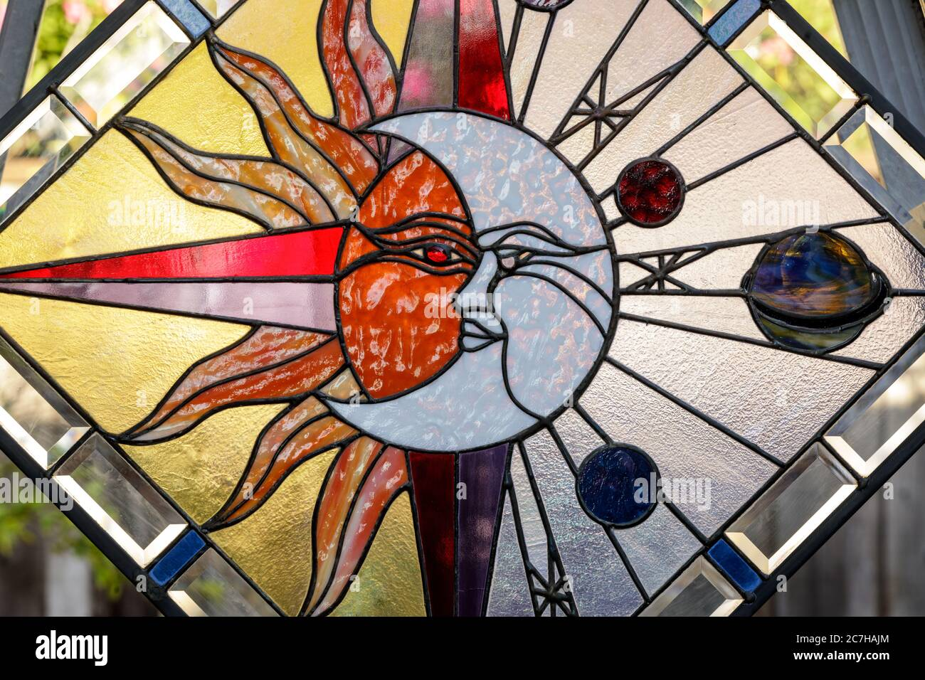Celestial Abstract Stained Glass Window Panel Stock Photo Alamy