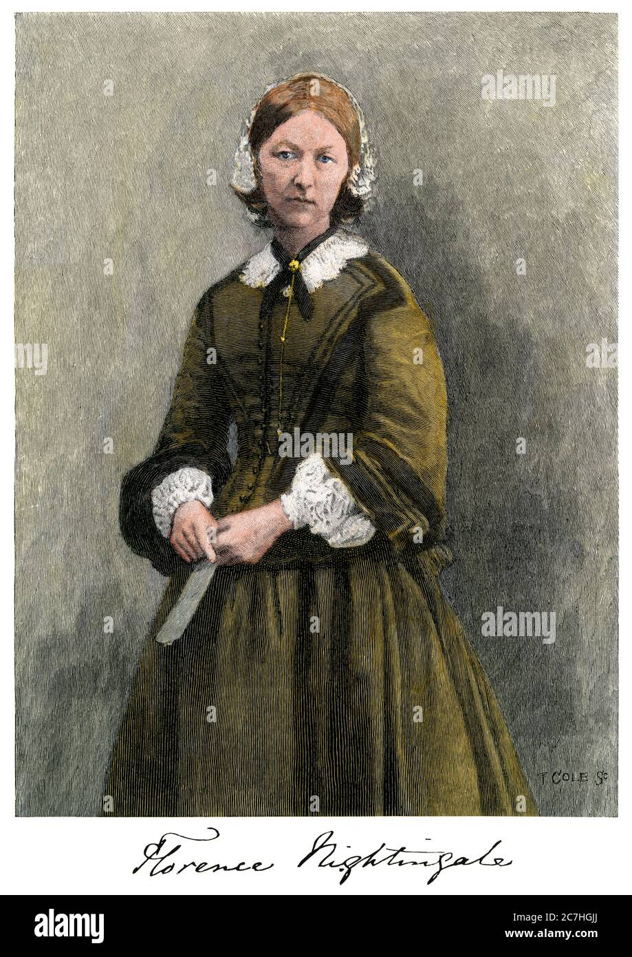 Florence Nightingale, with her autograph. Hand-colored woodcut Stock Photo