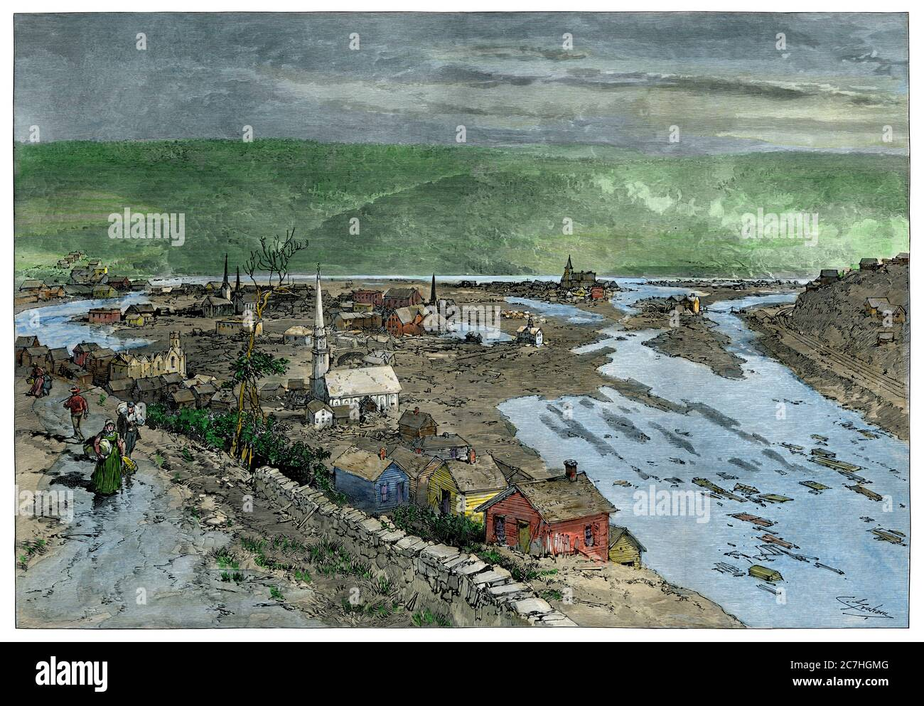 Johnstown PA flood aftermath, 1889. Hand-colored woodcut Stock Photo
