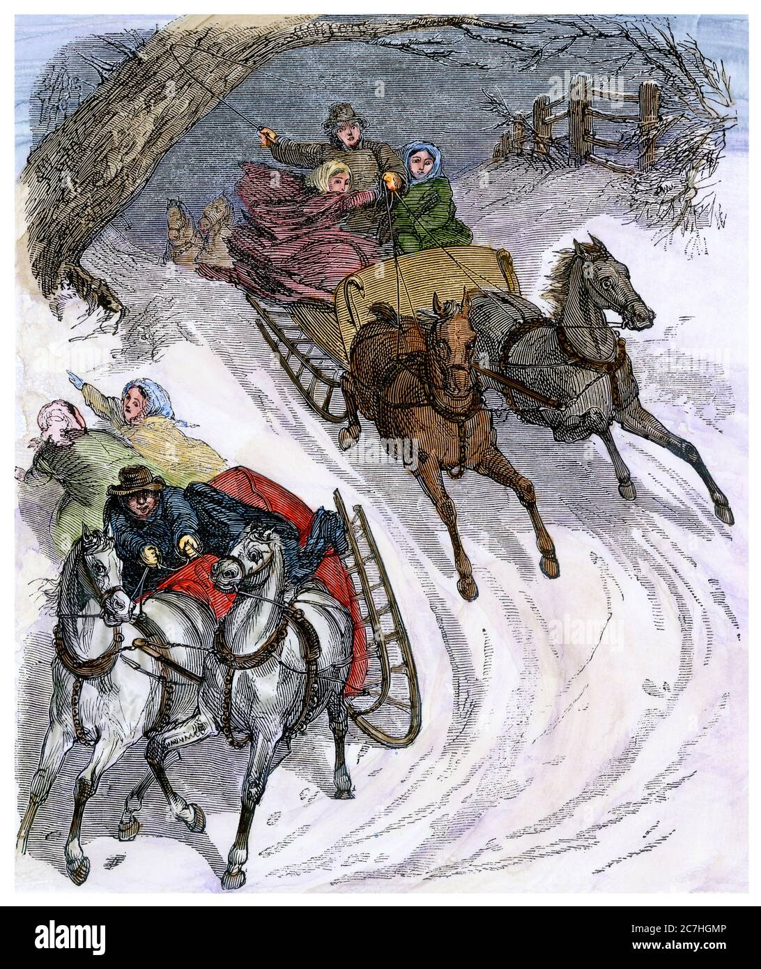 Sleighs racing on a snowy hillside, 1800s. Hand-colored woodcut Stock Photo