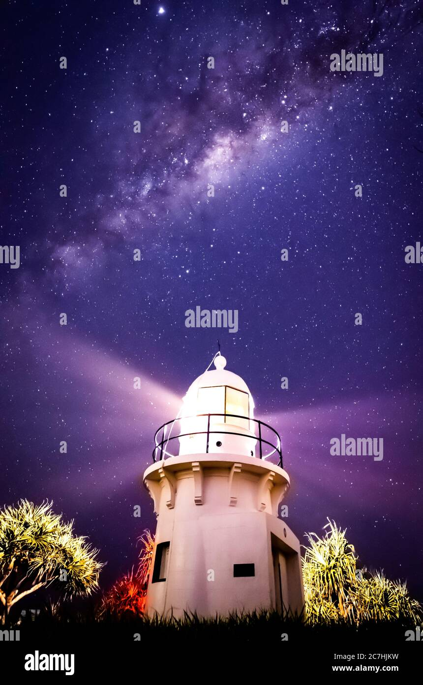 Vertical shot of a lighthouse under the beautiful Milky Way Galaxy Stock Photo